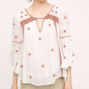 Anthropologie Floreat Embroidered Adena Top
